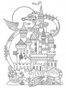 Ch 226 Teau Et Dragon Coloriage Livre Vecteur Image