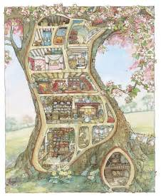 Cross Stitch Cottage by Miniature Mouse Tree Dolls House Inspired By Brambly Hedge