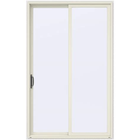 96 Patio Door Jeld Wen 60 In X 96 In V 4500 Vanilla Prehung Left Sliding 1 Lite Vinyl Patio Door