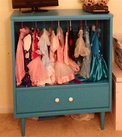 girls dress up armoire dresser removed 3 drawers add tension rod and paint