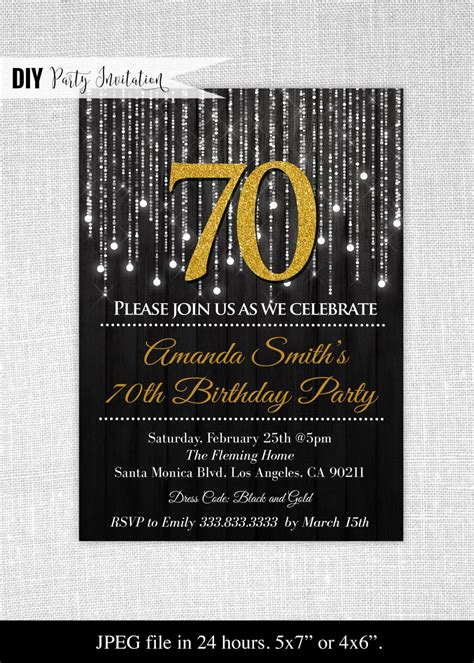 Black And Gold 70th Birthday Invitations 70th Birthday Black And Gold Invitation Template