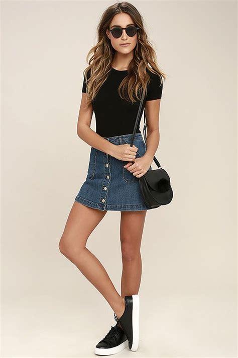 A Line Mini Denim Skirt denim a line mini skirt fashion skirts
