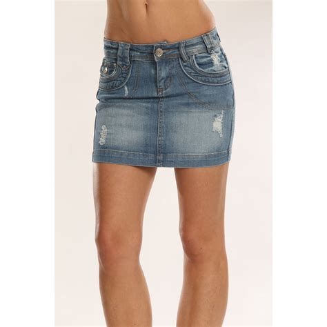ripped mid wash denim mini skirt from miss sugar uk
