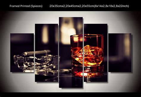 Cigar Decor by Framed Printed Whisky Cigar 5 Painting Wall