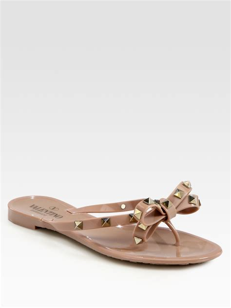 lyst valentino rockstud studded bow jelly flip flops in black