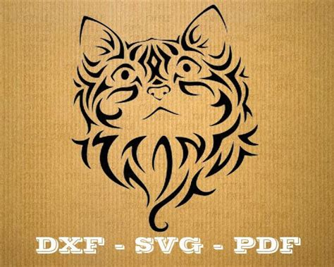 cricut printable vinyl laser format dxf tribal cute cat cnc cutting file vector