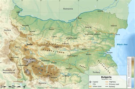 map of bulgaria detailed physical and road map of bulgaria bulgaria detailed physical and road map vidiani