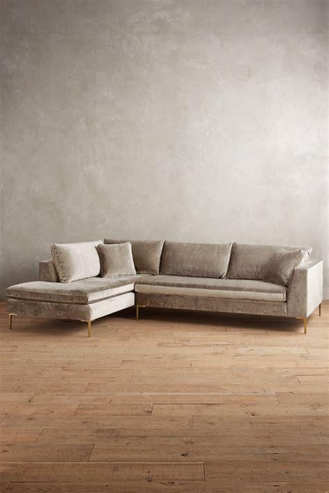 velvet sectional sofa slub velvet edlyn left sectional anthropologie