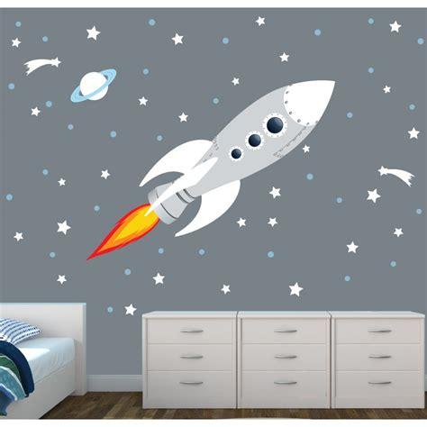 space bedroom stickers rocket wall decal for nursery or baby room
