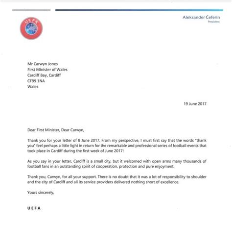 thank you letter after with president uefa says cardiff delivered nothing of excellence