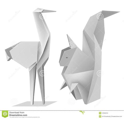 Stork Origami - origami squirrel stork stock photography image 12364012
