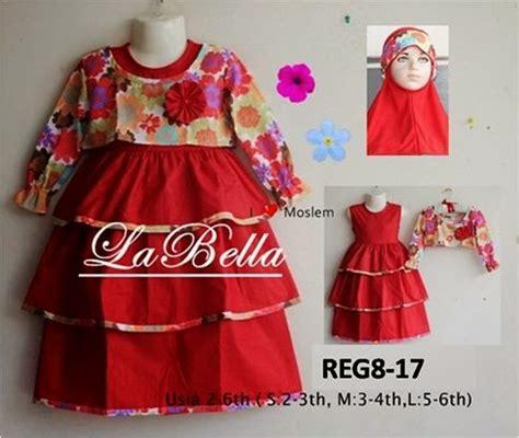 Baju Muslim Gamis Anak Labella La Cantik Manis Murah grosir mukena anak gamis anak la susun merah 2