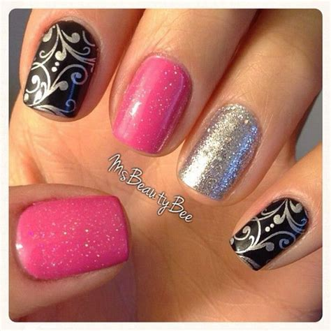 easy nail art black and pink 50 beautiful pink and black nail designs 2017
