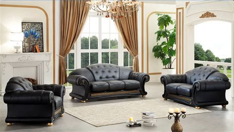 Style Living Room Set by Versace Classic Style Living Room Set In Black Leather