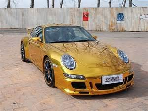 Gold Porsche Porsche 911 Wrapped In Gold Foil Spotted In China