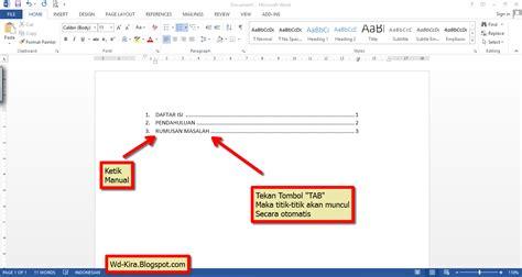 membuat titik daftar isi dengan tab cara membuat titik titik daftar isi pada microsoft word