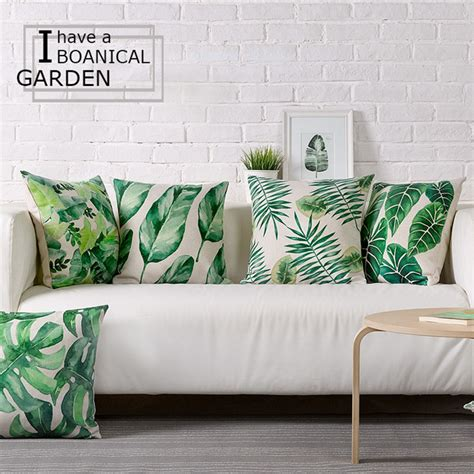 home decor cushions wholesale green leaves pillow cover cushion cover tropical