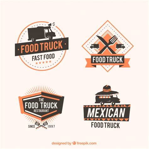 free food truck logo design food truck logos with elegant style vector free download