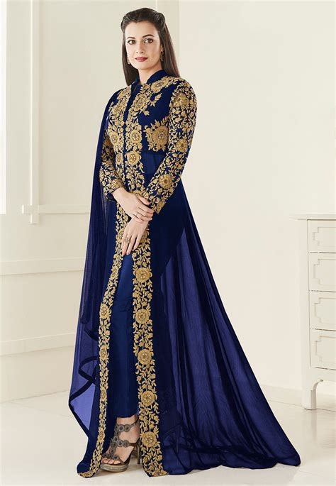 Abaya New Set Andita Navy embroidered georgette jacket abaya style suit in navy blue kch600
