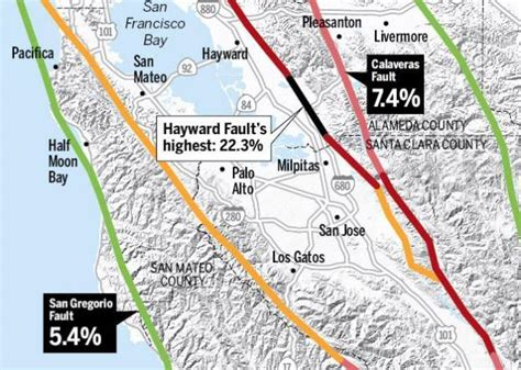 san jose earthquake map big bay area quake when and where is it most likely to