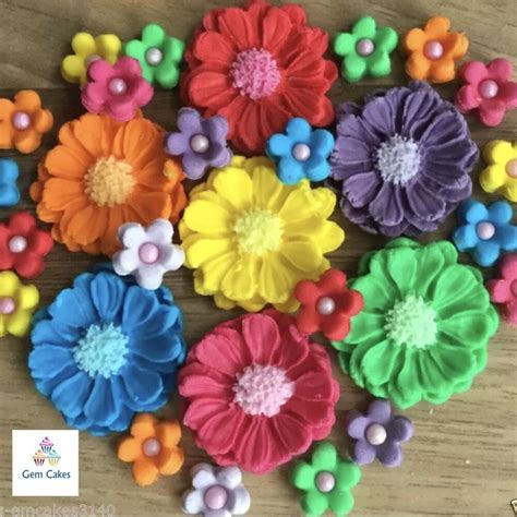 30 Edible Rainbow Bouquet Sugar Flowers Cup Cake