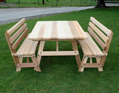 42 wide folding table 42 quot wide cedar traditional picnic table w backed benches