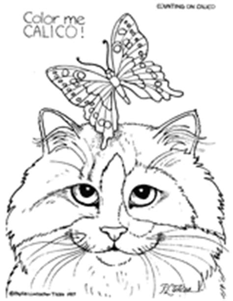 quot color me calico quot cat and butterfly coloring page