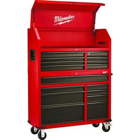 Milwaukee 46 in. 16 Drawer Tool Chest and Rolling Cabinet Set, Red and Black 48 22 8510 8520