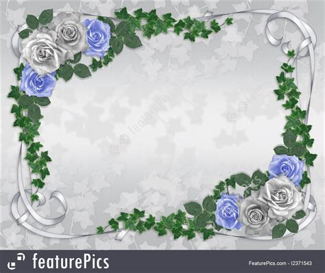 Blue Border Design For Wedding Invitation