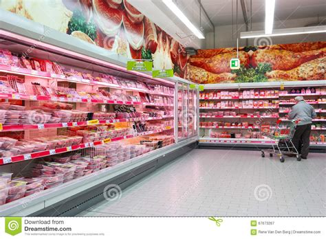 meat section in grocery store butchery department of supermarket editorial photography