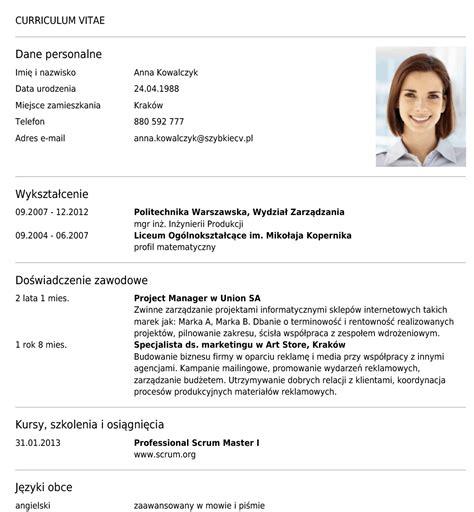 kreator i program do pisania cv stw 243 rz profesjonalne cv