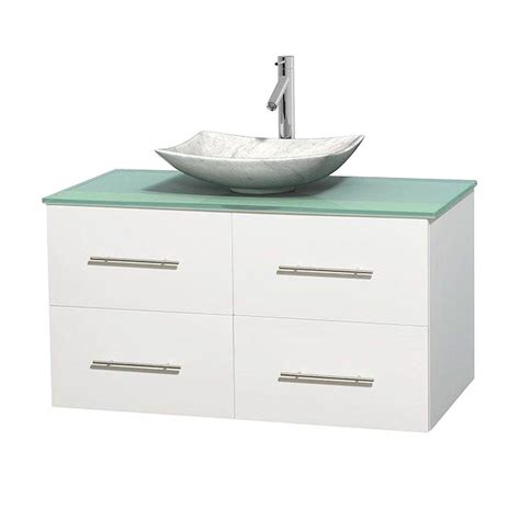 Green Glass Vanity Top by Wyndham Collection Centra 42 In Vanity In White With