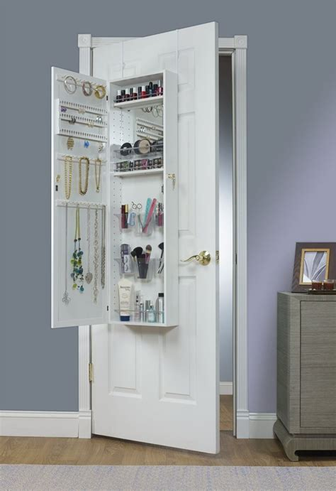white over the door jewelry armoire mirrotek over the door combination jewelry and makeup