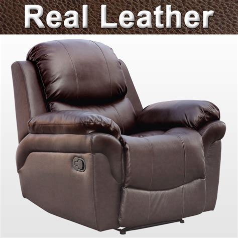 Real Leather Recliner Sofa Real Leather Recliner Armchair Sofa Home Lounge Chair Reclining Gaming Ebay