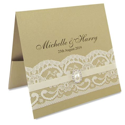 Wedding Invitations Vintage Lace by Vintage Lace Flat Front Pocketfold Invitation