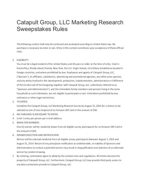 Sweepstakes Rules - sweepstakes rules