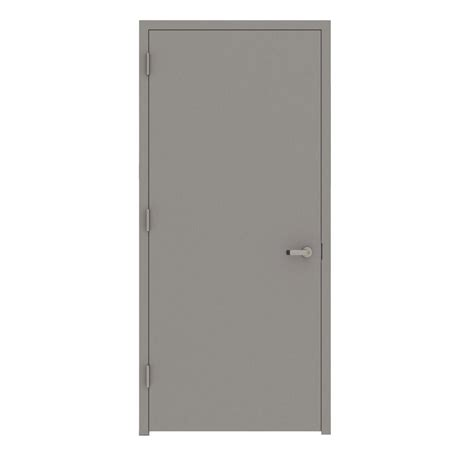 Steel Closet Doors L I F Industries 32 In X 80 In Gray Flush Right Proof Steel Prehung Commercial