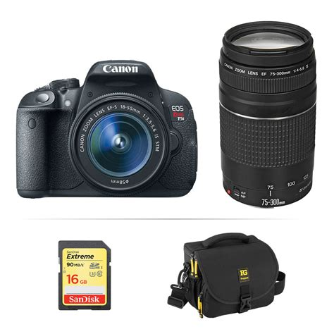 canon t5i dslr canon eos rebel t5i dslr with 18 55mm and 75 300mm b h