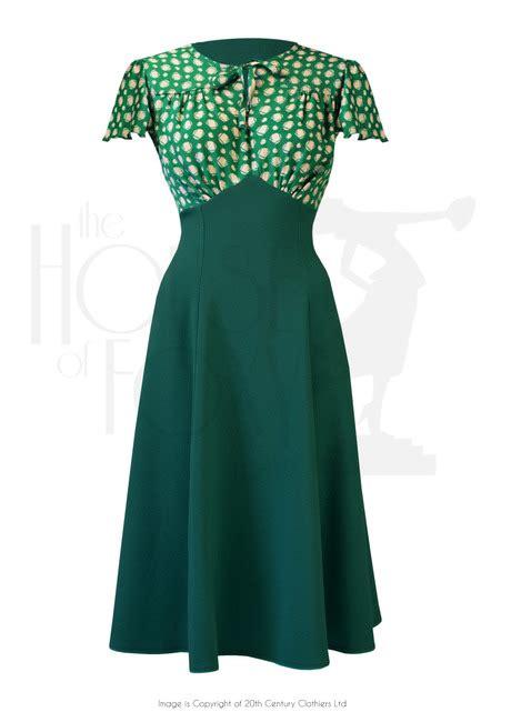 1940s swing fashion 1940s style grable tea swing dance dress in emerald deco dot