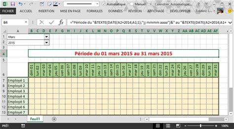 Calendrier 4x8 Comment Cr 233 Er Un Calendrier Automatique Dans Excel