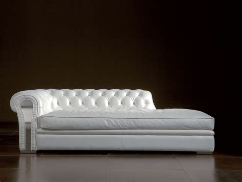 Leather Sofa Chaise Lounge White Leather Tufted Chaise Lounge Chair On Ceramic Tiled Flooring Furniture