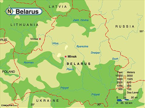 political map of belarus belarus physical map by maps from maps world s