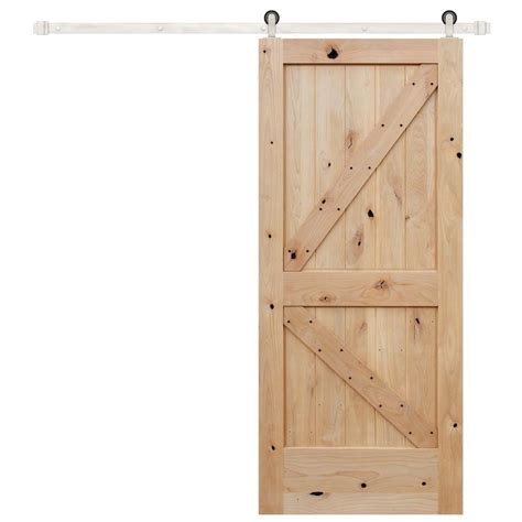 Pacific Entries 36 In X 84 In Rustic Unfinished 2 Panel Wood Barn Doors