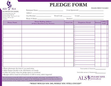 charity pledge form template pledge form template source success selimtd