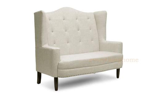 foyer settee modern beige dark gray grey linen tufted banquette sofa