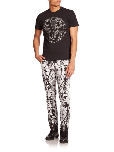 versace patterned jeans versace jeans printed slim jeans in black for men lyst