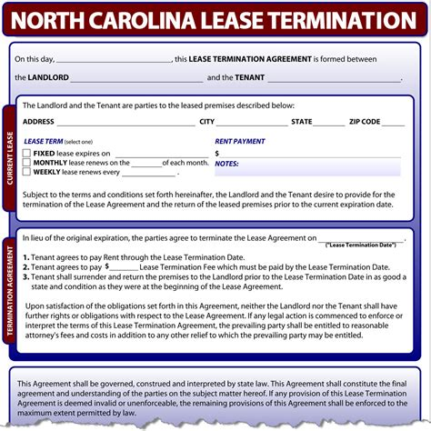 North Carolina Lease Termination Nc Eviction Notice Template