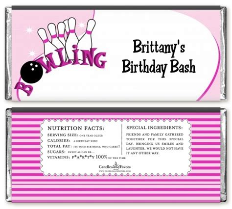 bowling birthday party candy bar wrappers candles