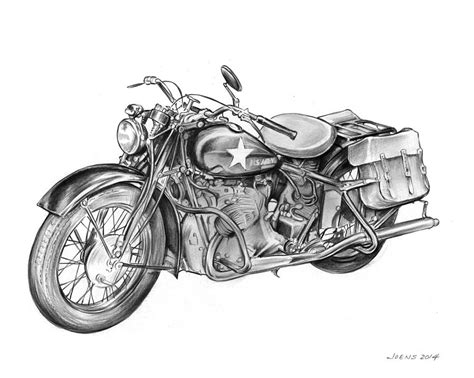 ww2 military motorcycle drawing by greg joens