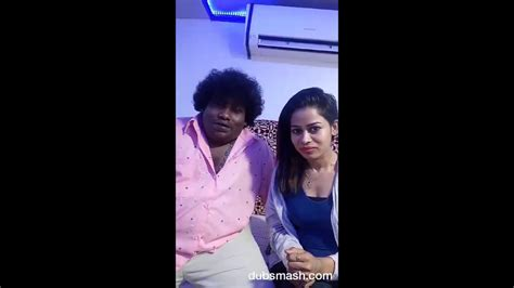actress actor dubsmash actress priyanka dubsmash with actor yogi babu priyanka